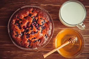 Fotos Backware Obstkuchen Honig Milch Tasse das Essen