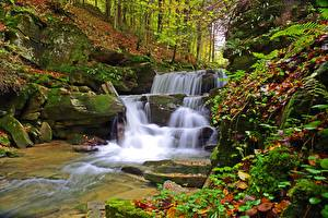Images Poland Stone Autumn Waterfalls Moss Foliage Bieszczady Nature