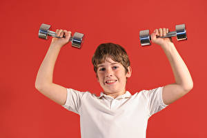 Wallpapers Red background Boys Hands Dumbbells Children