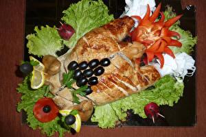 Fotos Hühnerbraten Gemüse Oliven Design