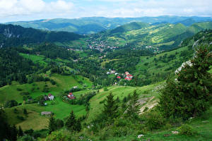 Фотография Румыния Пейзаж Здания Холмы Transylvania