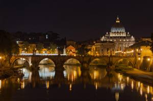 Wallpapers Rome Italy River Bridge Cathedral Night Street lights Reflected Tiber River, St. Peter's Basilica Cities