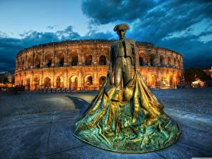 Pictures Rome Italy Sculptures Evening Colosseum Monuments toreodor