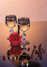 Wallpaper Roses Champagne Stemware Reflection Flowers