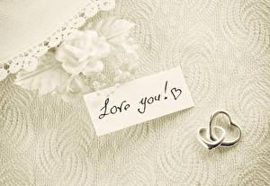 Fonds d'écran Rosiers Saint-Valentin Anglais Bague Deux love you