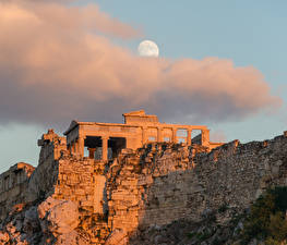 Pictures Ruins Evening Greece Clouds Moon Athenian Acropolis, Athens