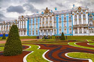 Bureaubladachtergronden Rusland Sint-Petersburg Gebouwen Paleis Gazon Ontwerp Catherine Palace Pushkin Steden