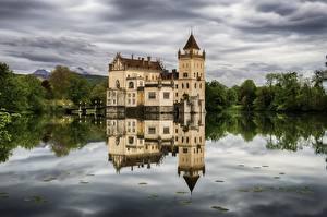 Bureaubladachtergronden Salzburg Oostenrijk Vijver Burcht Weerspiegeld Castle Anif een stad