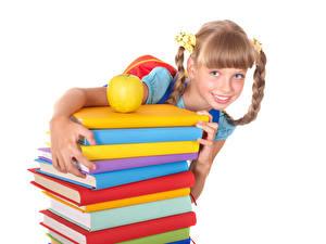 Pictures School Apples White background Little girls Book Staring Children