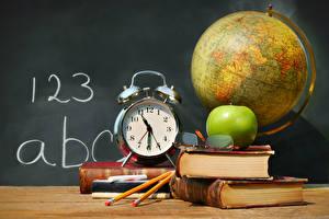Pictures School Clock Apples Alarm clock Book Globe Eyeglasses Pencils