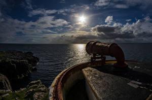 Bilder Schottland Meer Leuchtturm Abend Wolke Felsen Waterstein