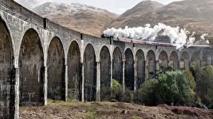 Bureaubladachtergronden Schotland Trein Bruggen Rook Glenfinnan