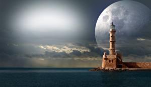 Hintergrundbilder Meer Leuchtturm Mond Fantasy
