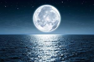 Hintergrundbilder Meer Ozean Mond