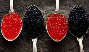 Pictures Seafoods Caviar Closeup Grain Spoon