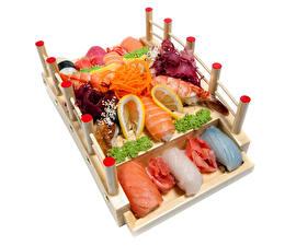 Images Seafoods Sushi Vegetables Lemons White background Food