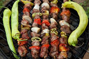 Pictures Shashlik Meat products Vegetables Pepper