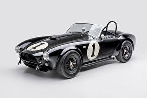 Photo Shelby Super Cars Retro Gray background Black Metallic Cabriolet 1962 Shelby Cobra 289 Cars