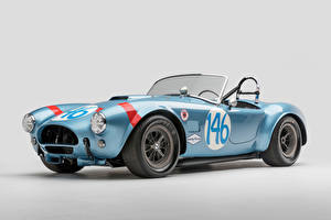 Picture SSC Retro Gray background Light Blue Cabriolet Roadster 1964 Shelby Cobra 289 FIA Competition Cars
