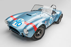 Pictures SSC Vintage Gray background Light Blue Cabriolet Roadster 1964 Shelby Cobra 289 FIA Competition automobile