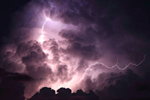 Wallpapers Sky Clouds Night time Lightning Nature