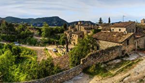 壁纸、、スペイン、建物、塀、丘、ハイダイナミックレンジ合成、Ciurana de Prades Catalonia、