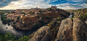 Fotos Spanien Toledo Haus Flusse Felsen Städte
