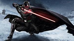 Bilder Star Wars  - Film Darth Vader Gezeichnet Schnee Schwert Umhang Rüstung Film