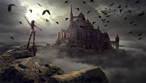 Bakgrundsbilder på skrivbordet Stenar Fåglar Borg Molnen Fantasy Unga_kvinnor