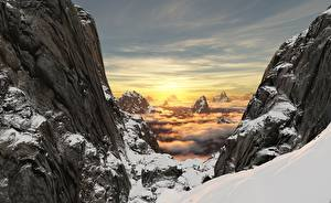Pictures Sunrises and sunsets Mountains Landscape photography Cliff Snow Nature 3D_Graphics