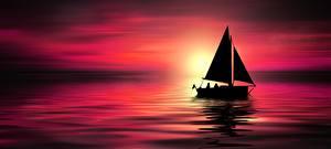 Hintergrundbilder Sonnenaufgänge und Sonnenuntergänge Meer Boot Segeln Silhouette