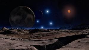 Bureaubladachtergronden Planeet oppervlak Planeten Berg Sterren 3D graphics