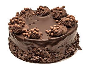 Fotos Süßware Torte Schokolade Weißer hintergrund Design