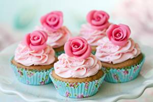 Hintergrundbilder Süßware Rosen Cupcake Design