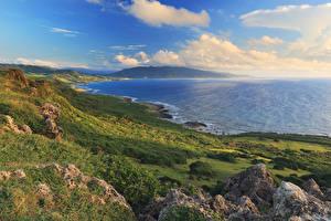 Фотографии Тайвань Побережье Пейзаж Мох