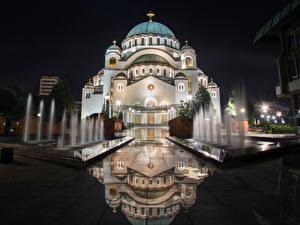 壁纸、、寺院、教会堂、噴水、セルビア、夜、倒影、街灯、Church of Saint Sava、