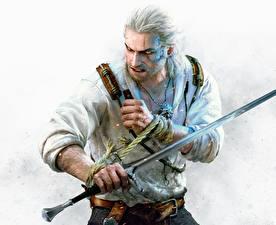 Bilder The Witcher 3: Wild Hunt Krieger Geralt von Rivia Mann Schwert Hearts of Stone Spiele