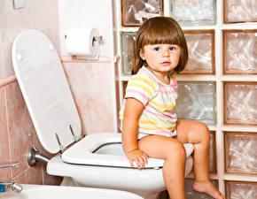 壁纸,,馬桶,小女孩,坐,儿童
