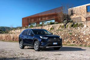 桌面壁纸,,丰田汽车,混合動力車輛,蓝色,金屬漆,2019 RAV4 Hybrid Worldwide,