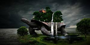 Bakgrundsbilder på skrivbordet Sköldpaddor Borg Ett vattenfall Insjö Träd Fantasmagori Fantasy