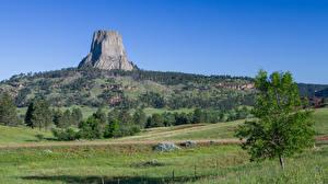 Hintergrundbilder Vereinigte Staaten Hügel Gras Felsen Bäume Devils tower, Wyoming