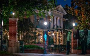 Photo USA Disneyland Parks Houses California Anaheim Design Night time Street lights Gate Cities
