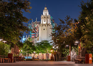 Wallpaper USA Disneyland Parks Building Evening California Anaheim Design Street lights Cities