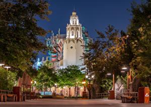 Wallpaper USA Disneyland Park Building Evening California Anaheim Design Street lights Cities