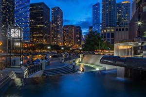 Hintergrundbilder Vereinigte Staaten Gebäude Abend Chicago Stadt Treppe Straßenlaterne