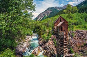 Hintergrundbilder USA Gebirge Flusse Wälder Mühle Crystal River Colorado Natur