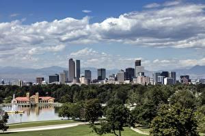 Fotos Vereinigte Staaten Wolkenkratzer Bäume Denver, Colorado Städte