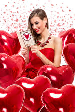 Image Valentine's Day Brown haired Smile Heart Balloons young woman
