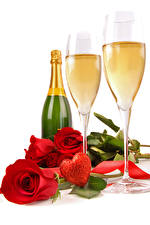 Image Valentine's Day Champagne Roses White background Bottles Stemware Red Heart Flowers