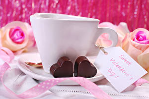 Hintergrundbilder Valentinstag Schokolade Englisch Tasse Herz Lebensmittel